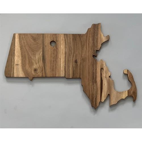 "Acacia Wood ""Massachusetts"" Cutting Board 14""X10"" - Natural"