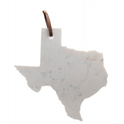 "Lg Polished Marble ""Texas"" Cutting Board W/Leather Belt 14""X10 - White"