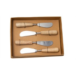 Set Of 4 Mango Wood Spreaders - Shiny And Natural