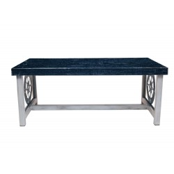 Cottage/navy Rectangle Coffee Table With Nautical Compass Accent On Ends