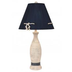 Cottage/navy Ribbed Pedestal Table Lamp