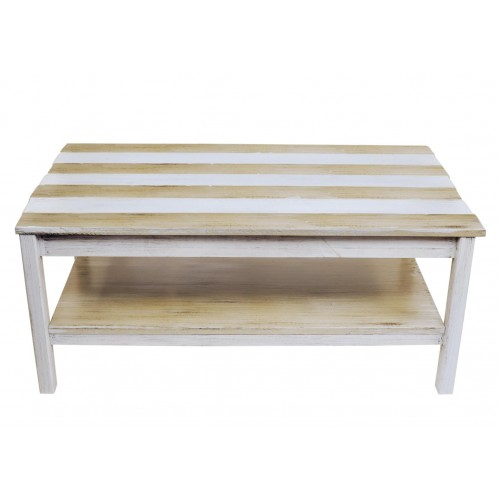 Cottage/sisal Stripe All Wood Coffee Table With Uneven Top And Shelf