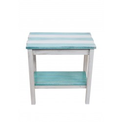 """Cottage/turquoise Sea Stripe All Wood 14""""X23 End Table With Uneven Top And Shelf"""
