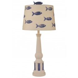 Nude/morning Jewel Stripe Pedestal Table Lamp W/ School Of Fish Shade