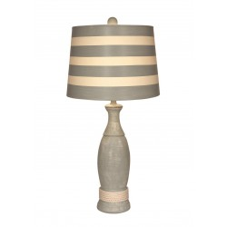 Pale Grey Casual Pedestal Lamp W/white Rope Accent