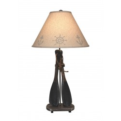 Walnut/navy 2-paddles W/rope Handles Table Lamp