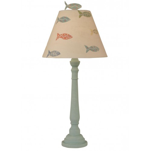 Weathered Shaded Round Buffet Lamp W/ School Of Fish Shade