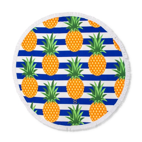 Personalized Round Beach Towel – Pineapple PatternI