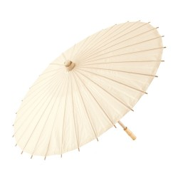 Pretty Paper Parasol With Bamboo Handle - IvoryI