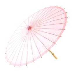 Pretty Paper Parasol With Bamboo Handle - Vintage PinkI