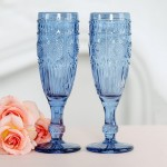 Vintage Style Pressed Glass Champagne Flute - Blue