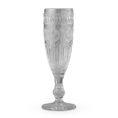 Vintage Style Pressed Glass Champagne Flute - Grey