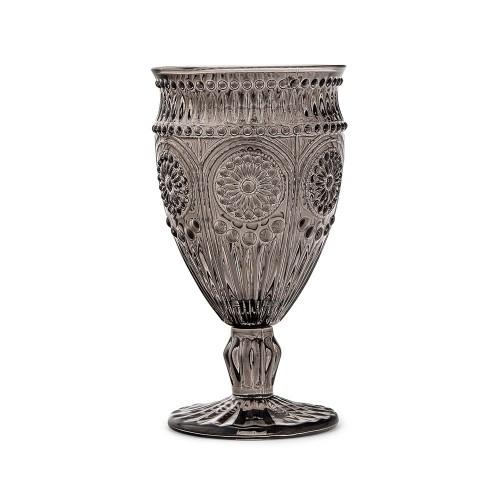 Vintage Style Pressed Glass Wine Goblet - Black
